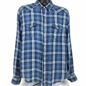 Lucky Brand Mens Size L Shirt Classic Fit Snap